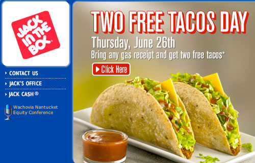 Free Tacos at Jack in the Box