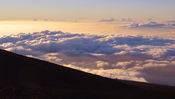 The sunset, as we saw it after driving up Haleakala Mountain in Maui.