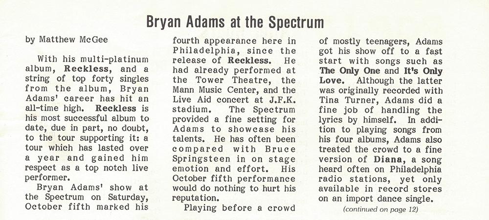 Bryan Adams, October 5, 1985 in Philadelphia: Concert review